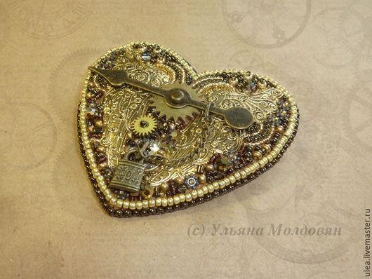 Брошь-сердце в стиле стимпанк. Авторская работа Ульяны Молдовян. Оригинальная брошь ручной работы.