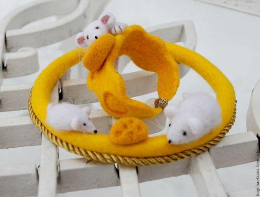 """Колье, бусы ручной работы. Ярмарка Мастеров - ручная работа. Купить """"Мышиный рай"""" комплект валяный. Handmade. Желтый, колье"""