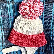 Работы для детей, handmade. Livemaster - original item Children`s hat and scarf for spring (white Alpaca cowberry cashmere). Handmade.