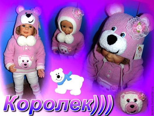 """Одежда для девочек, ручной работы. Ярмарка Мастеров - ручная работа. Купить комплект """"Мишутка"""" для девчат. Handmade. Розовый, плюш, девочка"""