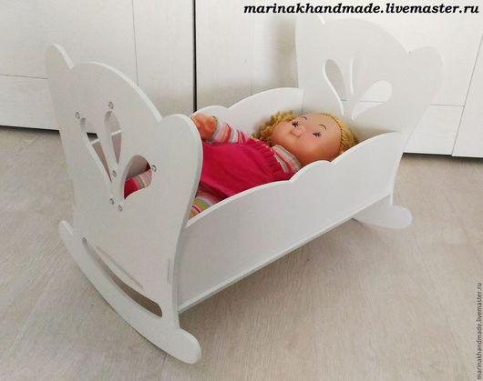 Детская ручной работы. Ярмарка Мастеров - ручная работа. Купить Кукольная кроватка. Handmade. Белый, кроватка для куклы, кровать на заказ