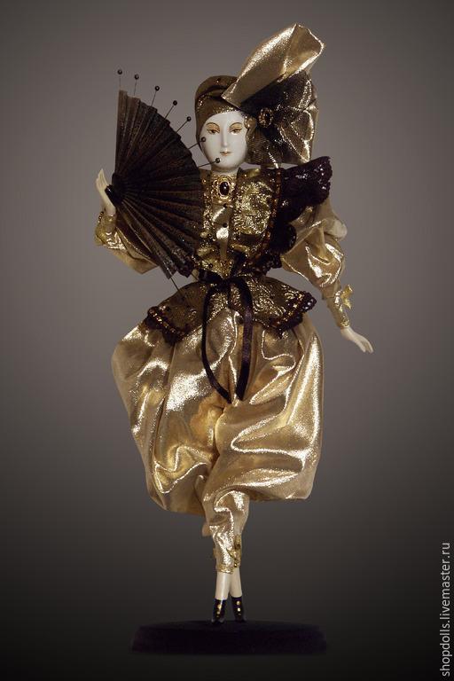 Коллекционные куклы ручной работы. Ярмарка Мастеров - ручная работа. Купить Кукла Дама с бантом. Handmade. Золотой, дама