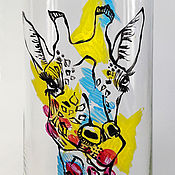 Для дома и интерьера ручной работы. Ярмарка Мастеров - ручная работа Ваза стеклянная  для цветов с росписью Жираф. Handmade.