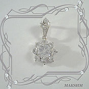 Украшения handmade. Livemaster - original item Pendant GLITTER with CUBIC Zirconia (925 sterling silver). Handmade.