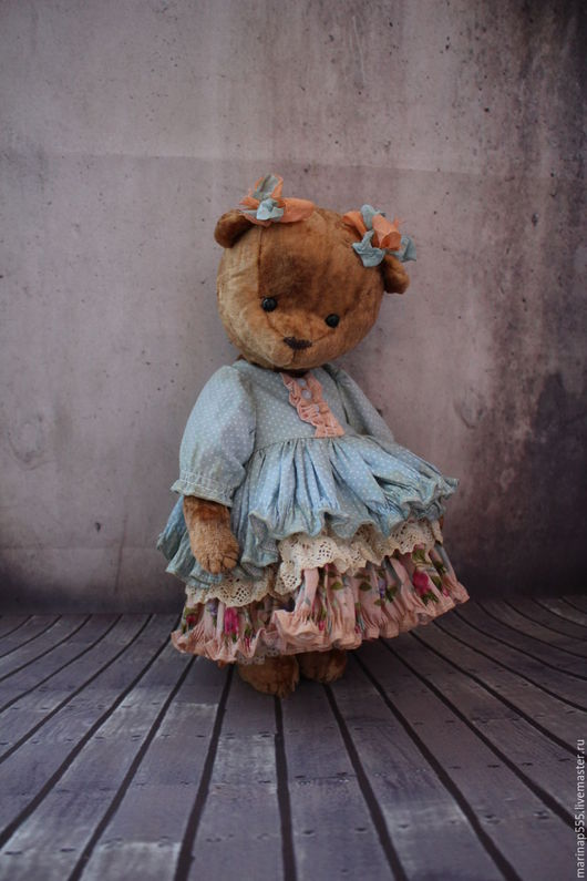 Мишки Тедди ручной работы. Ярмарка Мастеров - ручная работа. Купить Ксюша. Handmade. Коричневый, мишка в одежде, винтажный, плюш