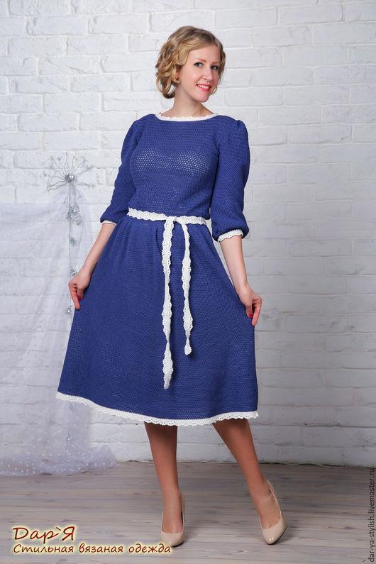 """Платья ручной работы. Ярмарка Мастеров - ручная работа. Купить """"Виктория"""" вязаное платье. Handmade. Платье, платье с поясом"""