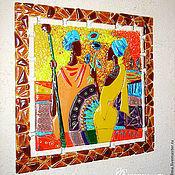 """Панно """"Африканский колорит"""" из стекла. Фьюзинг"""