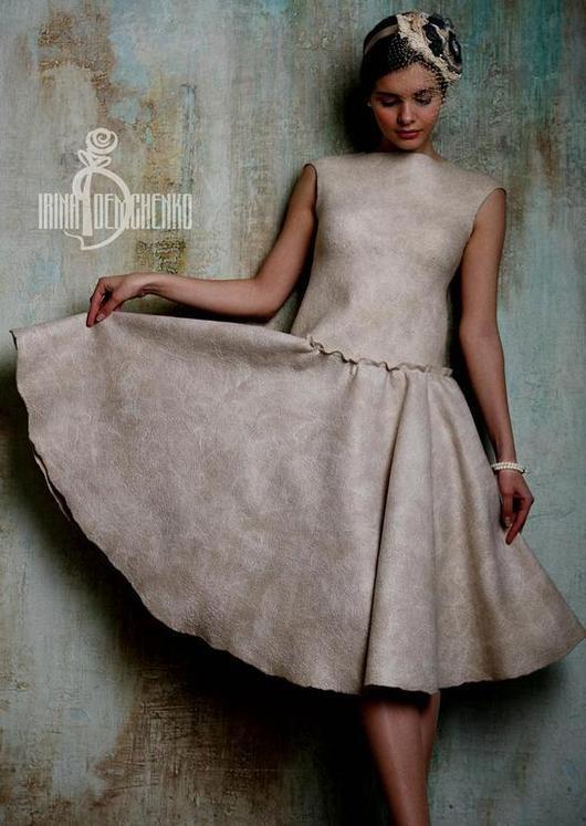 Платья ручной работы. Ярмарка Мастеров - ручная работа. Купить Валяное платье «Nostalgia». Handmade. Бежевый, любовь