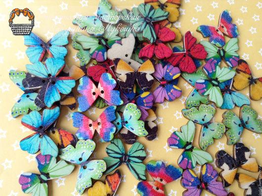"""Аппликации, вставки, отделка ручной работы. Ярмарка Мастеров - ручная работа. Купить Деревянные пуговицы """"бабочки"""" (1уп/10шт). Handmade. Разноцветный"""