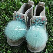 """Обувь ручной работы. Ярмарка Мастеров - ручная работа Валенки, модель """"Мятные зайчата"""". Handmade."""