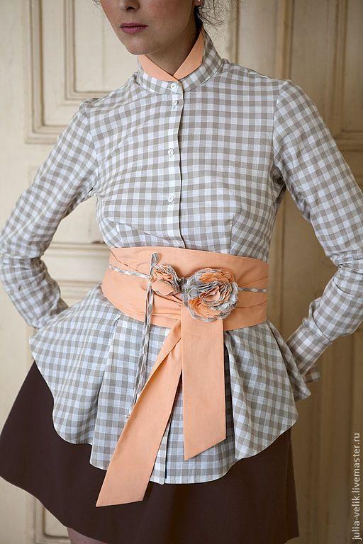 """Блузки ручной работы. Ярмарка Мастеров - ручная работа. Купить Блузка-рубашка """"Газетная Утка"""". Handmade. Бежевый, рубашка из хлопка"""
