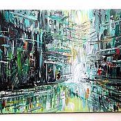 """Картины ручной работы. Ярмарка Мастеров - ручная работа Картина акрилом """"Суета улиц"""". Handmade."""