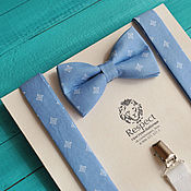 Аксессуары handmade. Livemaster - original item Butterfly Braces Milord / set blue bow tie and suspenders. Handmade.
