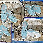 Обувь ручной работы. Ярмарка Мастеров - ручная работа Босоножки на шнурках.Голубые.Хлопок.Подошва ТЭП. Handmade.