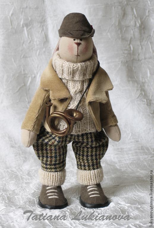 Куклы Тильды ручной работы. Ярмарка Мастеров - ручная работа. Купить Тильда зайка охотник. Handmade. Тильда заяц, бежевый