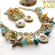 Украшения handmade. Livemaster - original item Shell. Earrings, bracelet with chalcedony, peridot. Handmade.