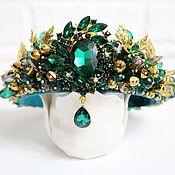 Украшения handmade. Livemaster - original item Emerald green and gold Dolce headband crown. Handmade.
