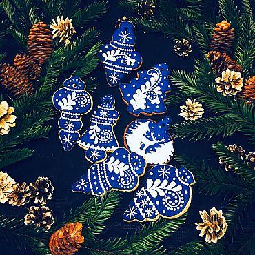 Сувениры и подарки ручной работы. Ярмарка Мастеров - ручная работа Синий пряничный набор большой. Handmade.