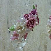 """Свадебный салон ручной работы. Ярмарка Мастеров - ручная работа свадебные бокалы """"розовый пион"""". Handmade."""