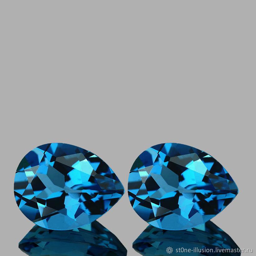 ПАРА!! Топаз голубой London VVS натуральный, груша, 6х8мм, 5,52кт, Бусины, Махачкала,  Фото №1