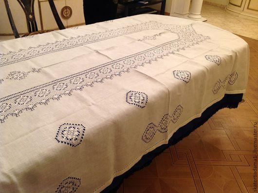 Текстиль, ковры ручной работы. Ярмарка Мастеров - ручная работа. Купить Скатерть льняная ручной работы. Handmade. Белый