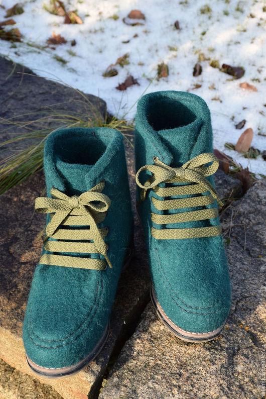 """Обувь ручной работы. Ярмарка Мастеров - ручная работа. Купить Ботинки """"Зов природы"""". Handmade. Тёмно-зелёный, зима 2016"""