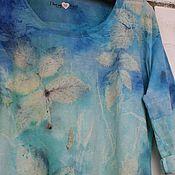 """Одежда ручной работы. Ярмарка Мастеров - ручная работа Футболка хлопковая: """"Море. Полдень."""". Handmade."""