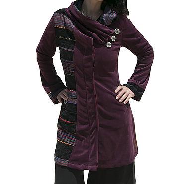 Одежда ручной работы. Ярмарка Мастеров - ручная работа Пурпурное пальто,  Бохо жакет из японского велюра. Handmade.
