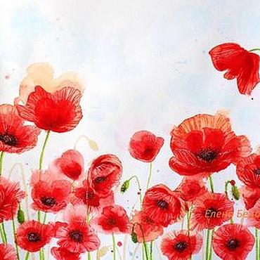 Картины и панно ручной работы. Ярмарка Мастеров - ручная работа Картина Маки цветы для интерьера гостиной спальни красный белый алый. Handmade.