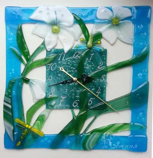 """Часы для дома ручной работы. Ярмарка Мастеров - ручная работа. Купить Часы """" В голубой оправе"""". Handmade."""