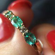 Кольца ручной работы. Ярмарка Мастеров - ручная работа Золотое кольцо с изумрудами и бриллиантами. Handmade.