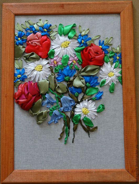 Картины цветов ручной работы. Ярмарка Мастеров - ручная работа. Купить Летний букет. Handmade. Вышивка лентами картины