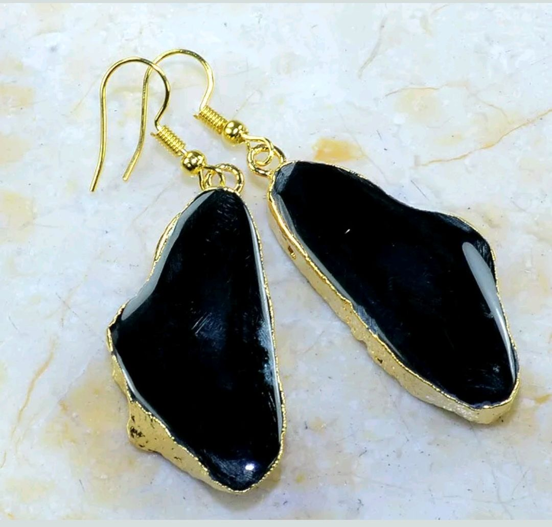 a pair of pendants on earrings with black agate in gold, Pendants, Samara,  Фото №1