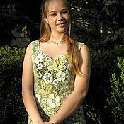 Одежда ручной работы. Ярмарка Мастеров - ручная работа Зеленый чай с жасмином - летнее платье из хлопка. Handmade.