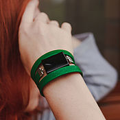 Украшения handmade. Livemaster - original item Bracelet green in the fall with the agate Forest needles. Handmade.