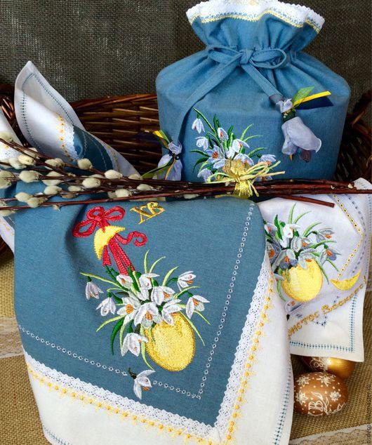 """Текстиль, ковры ручной работы. Ярмарка Мастеров - ручная работа. Купить Пасхальный набор из льна"""" Подснежники на серо-голубом"""". Handmade."""