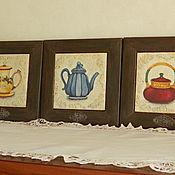 """Для дома и интерьера ручной работы. Ярмарка Мастеров - ручная работа Панно """" Чайники"""". Handmade."""