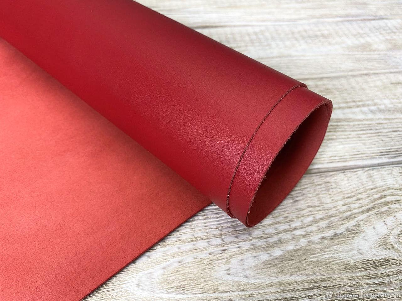 Натуральная кожа 1.2-1.4 мм Red Nappa-2, Кожа, Оренбург,  Фото №1