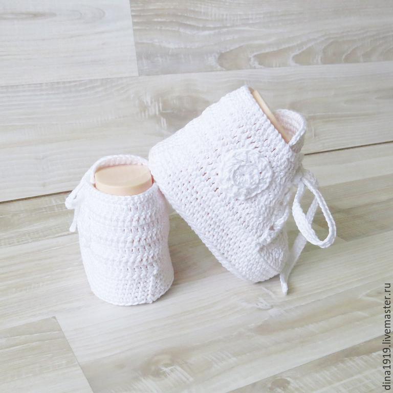 Вязание крючком - пинетки кеды мастер класс от Suzanne Resaul