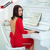 Одежда ручной работы. Ярмарка Мастеров - ручная работа Красное платье короткое с бантом. Handmade.