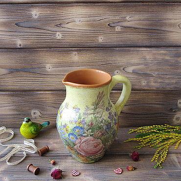 """Посуда ручной работы. Ярмарка Мастеров - ручная работа Кувшин керамический """"Летний сад"""". Handmade."""