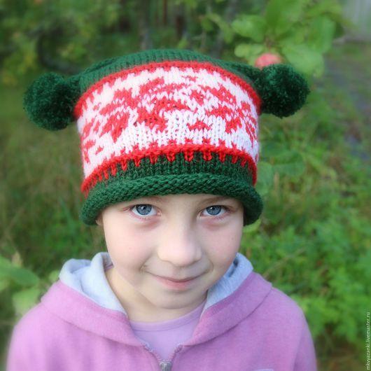 Шапки ручной работы. Ярмарка Мастеров - ручная работа. Купить Детская шапка Рождество. Handmade. Шапка для фотосессий, яркая шапка