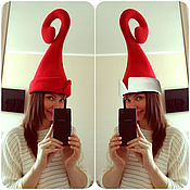 Одежда handmade. Livemaster - original item The elf hat elf Santa Claus hat Christmas red. Handmade.