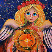 Картины и панно handmade. Livemaster - original item Guardian angel with guiding star acrylic painting. Handmade.