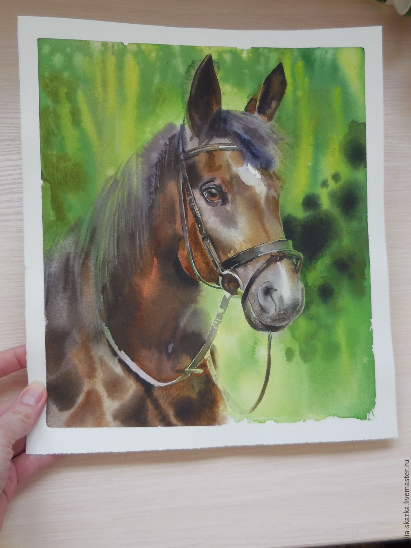 """Пейзаж ручной работы. Ярмарка Мастеров - ручная работа. Купить Акварель """" Лошадь"""". Handmade. Лошадь, подарок мужчине"""