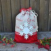 Подарки к праздникам ручной работы. Ярмарка Мастеров - ручная работа Новогодний мешочек для подарков, льняной мешочек. Handmade.