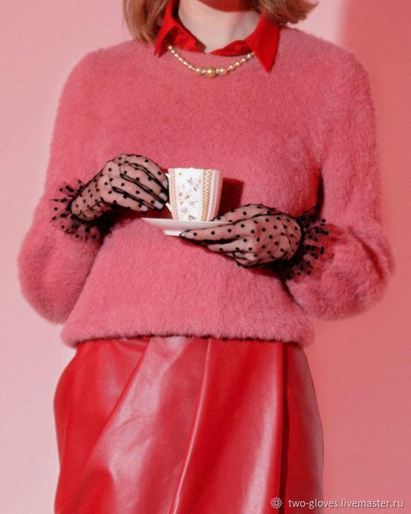 Черные перчатки в горошек из фатина, Перчатки, Санкт-Петербург,  Фото №1