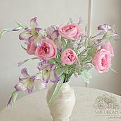 Цветы и флористика ручной работы. Ярмарка Мастеров - ручная работа Букет с пионовидными розами из шелка. Handmade.