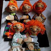 Куклы и игрушки handmade. Livemaster - original item Solar FAMILY. MOM, DAD, TWO SONS AND A DAUGHTER. glove puppets.. Handmade.