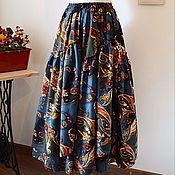 """Одежда ручной работы. Ярмарка Мастеров - ручная работа Юбка в бохо-стиле """"Восточный пейсли"""" - синяя. Handmade."""